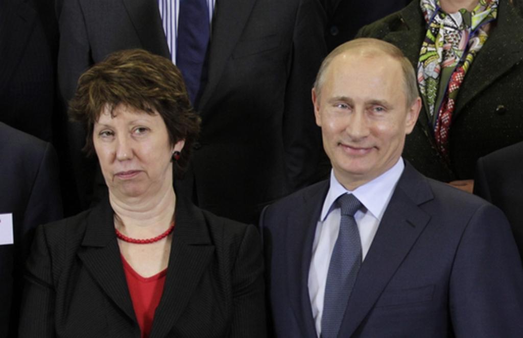 Catherine Ashtonová a Vladimir Putin