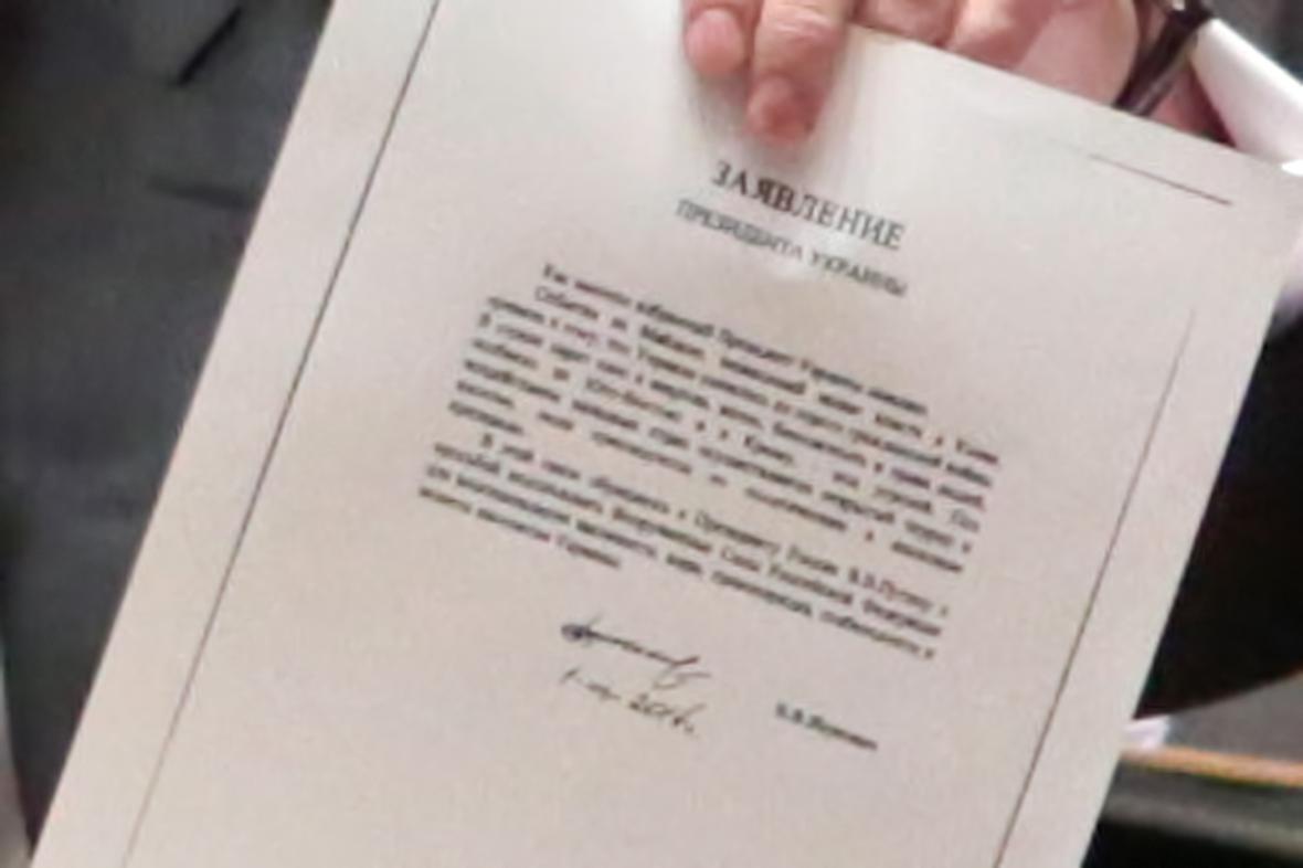 Kopie Janukovyčova dopisu s žádostí o vojenský zásah na Ukrajině
