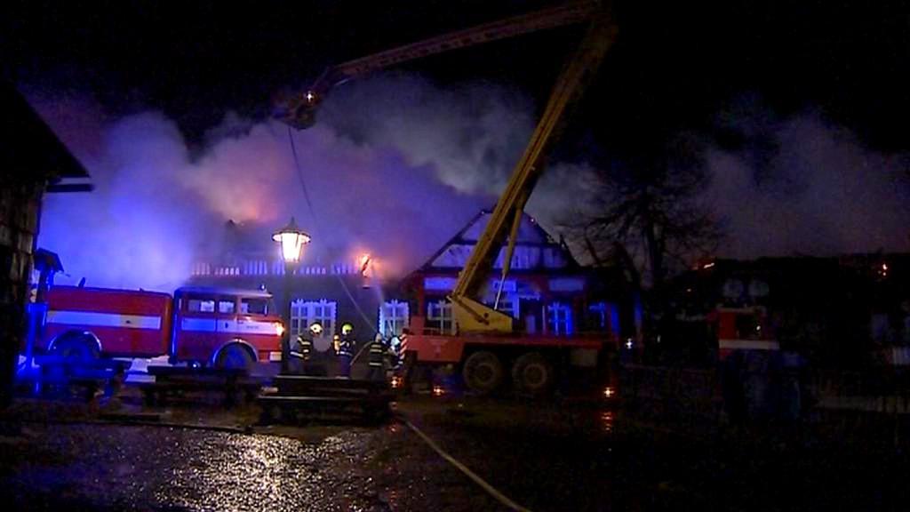 Požár chaty Libušín na Pustevnách