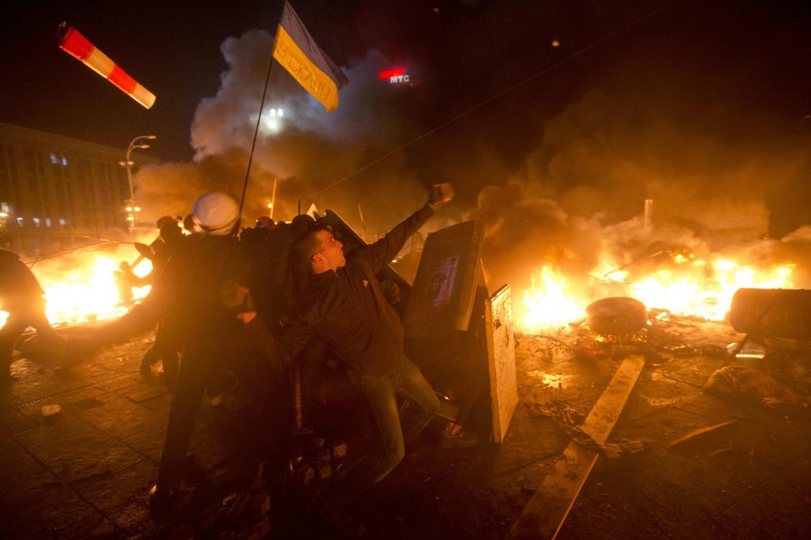 Boje na kyjevském náměstí Nezávislosti