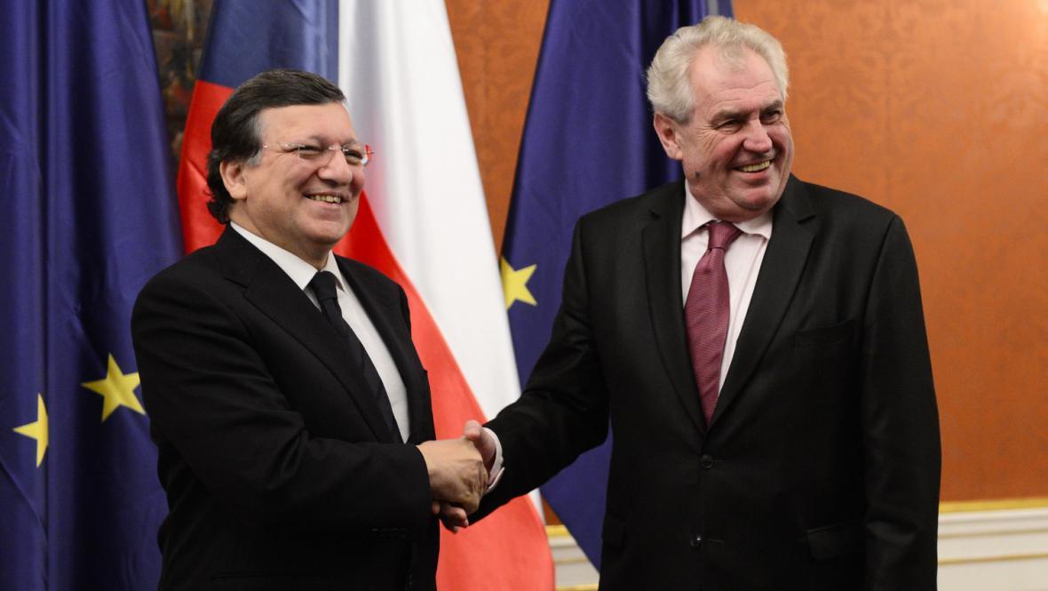 Miloš Zeman přijal José Barrosa