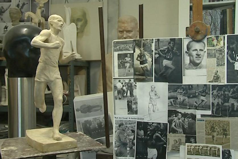 Hliněná předloha sochy Emila Zátopka