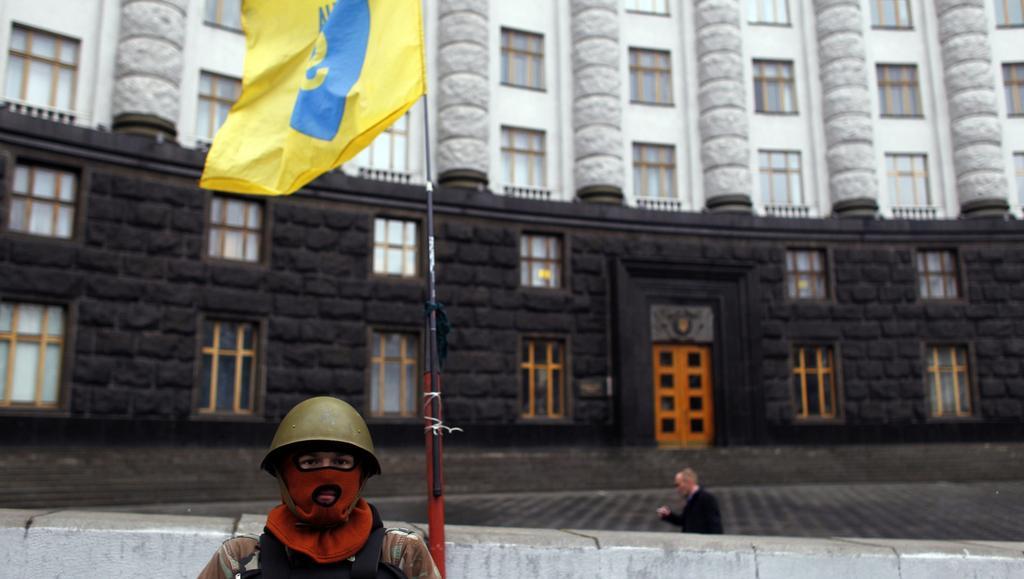 Hlídka před ukrajinským parlamentem