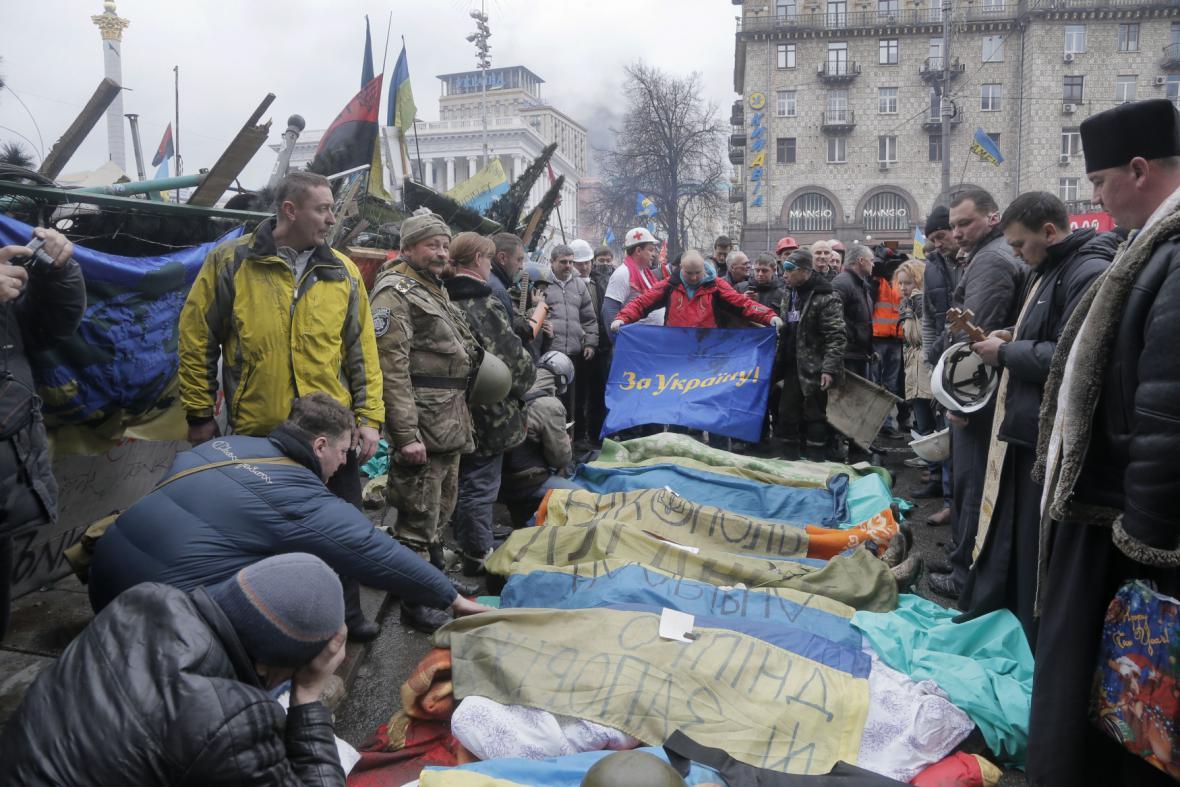 Oběti ukrajinské krize na náměstí Nezávislosti