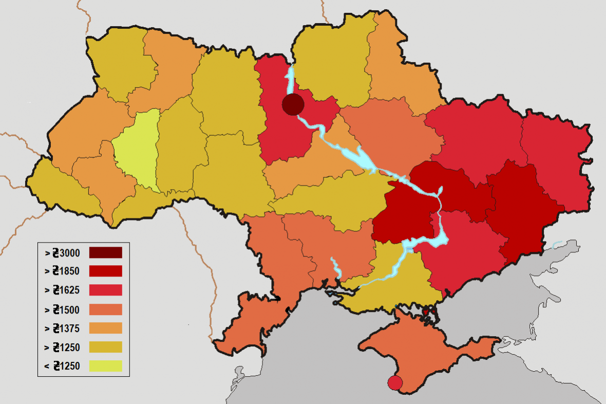Rozdělení ukrajinských regionů dle výše platů