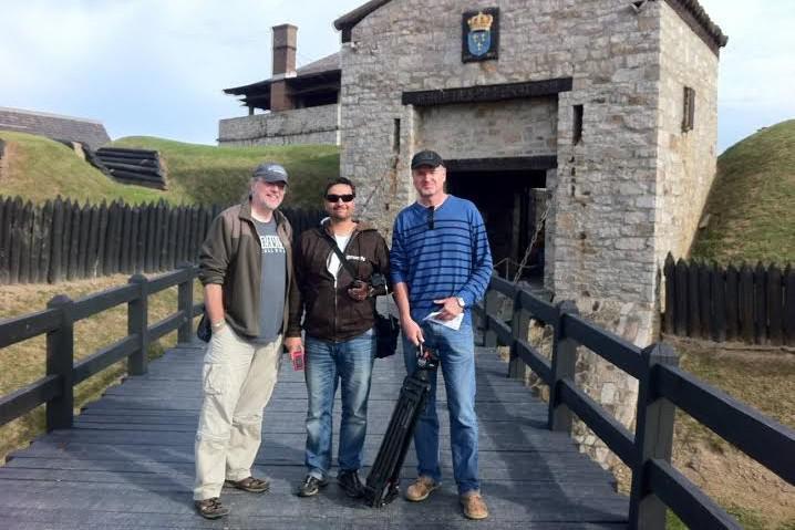 Tvůrci dokumentu před pevností Fort Niagara