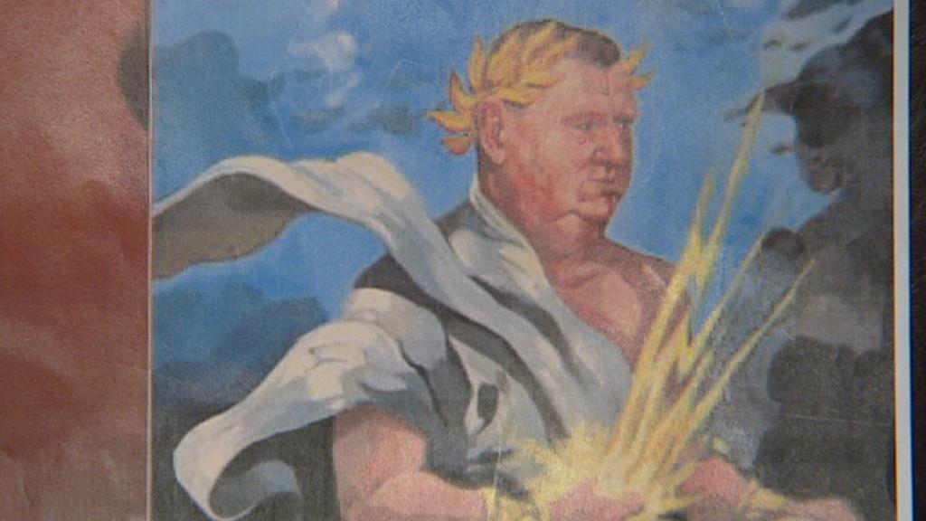 Na obraze byl Rittig vyobrazený jako Zeus