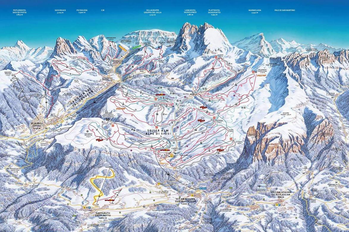 Středisko Alpe di Siusi - plán sjezdovek