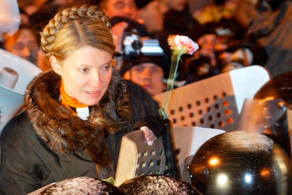 Julija Tymošenková během oranžové revoluce v listopadu 2004