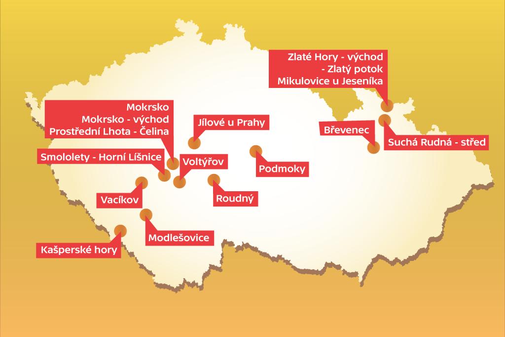 Mapa ložisek zlata