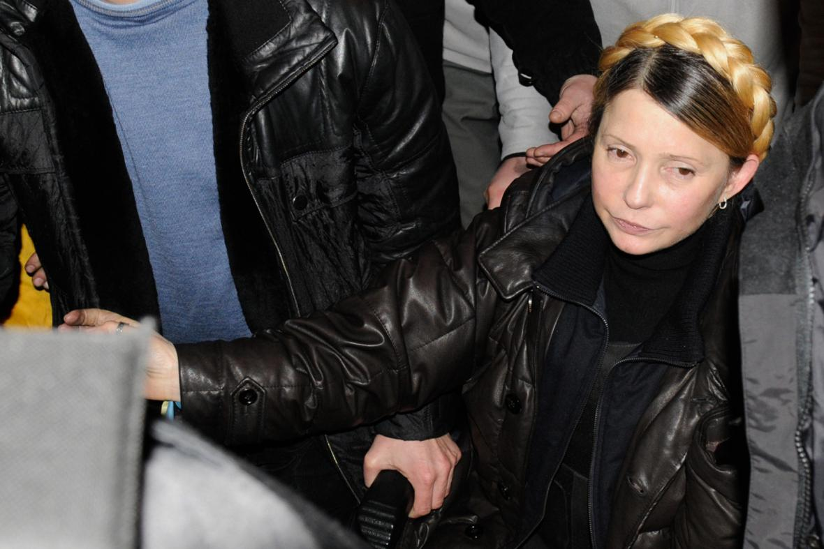 Expremiérka Julija Tymošenková na Majdanu
