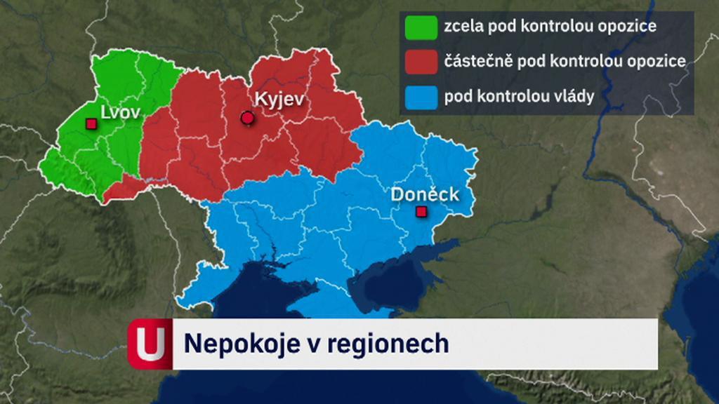 Oblasti Ukrajiny pod kontrolou vlády a opozice