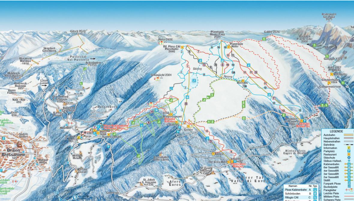 Mapa skiareálu Plose