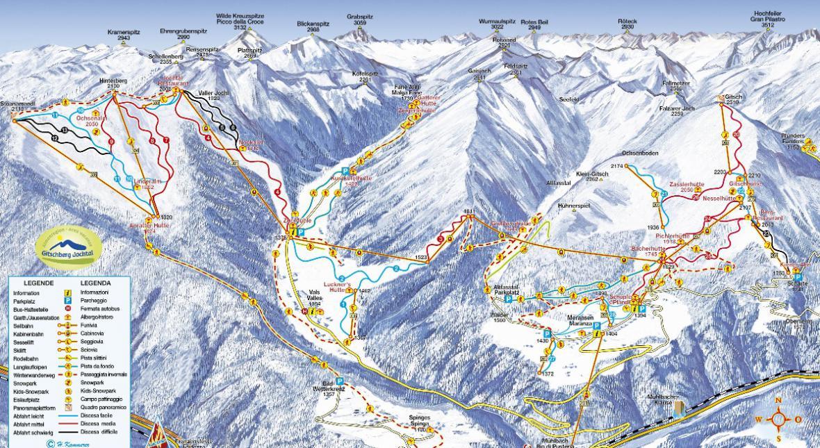 Mapa středisek Jochtal a Gitscherg