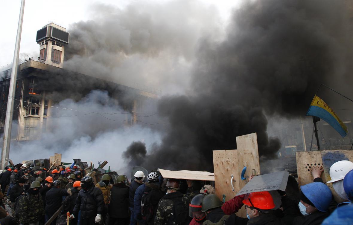 Barikády protivládních protestů v Kyjevě