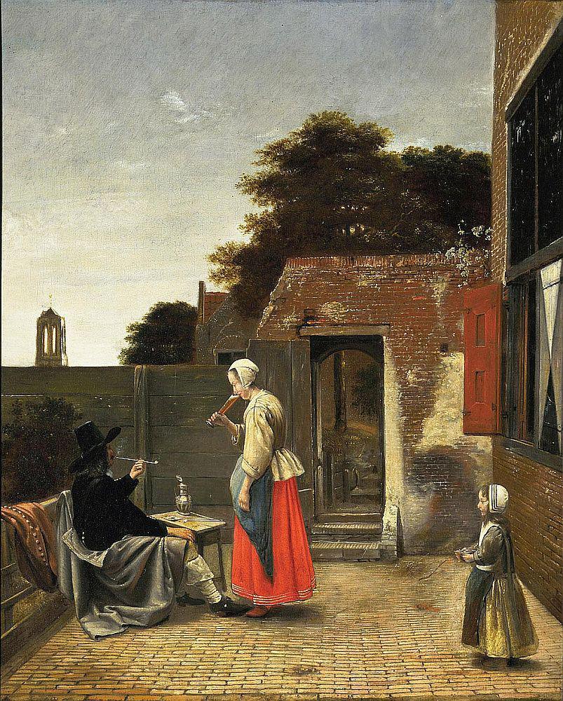 Pieter do Hooch / Muž, který kouří a žena pije na dvorku (1658-1660)
