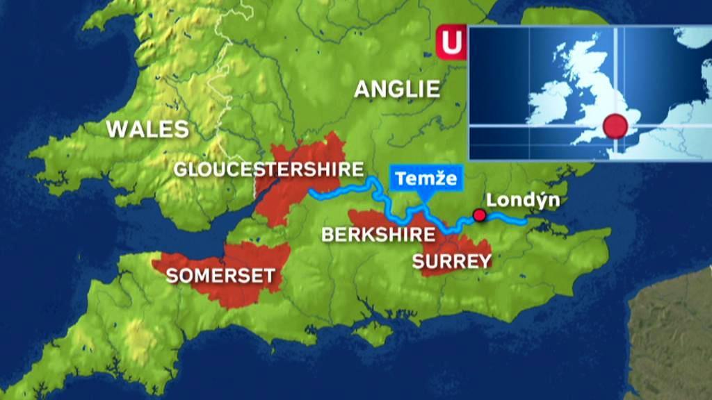 Anglická hrabství stižená povodní