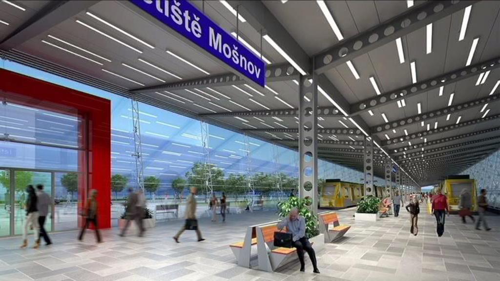 Vizualizace nového nádraží Letiště Mošnov