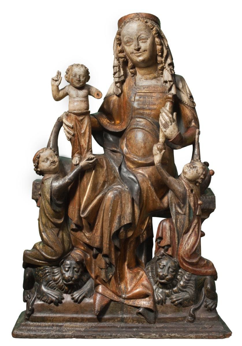 Trůnící Madona s dítětem na lvech