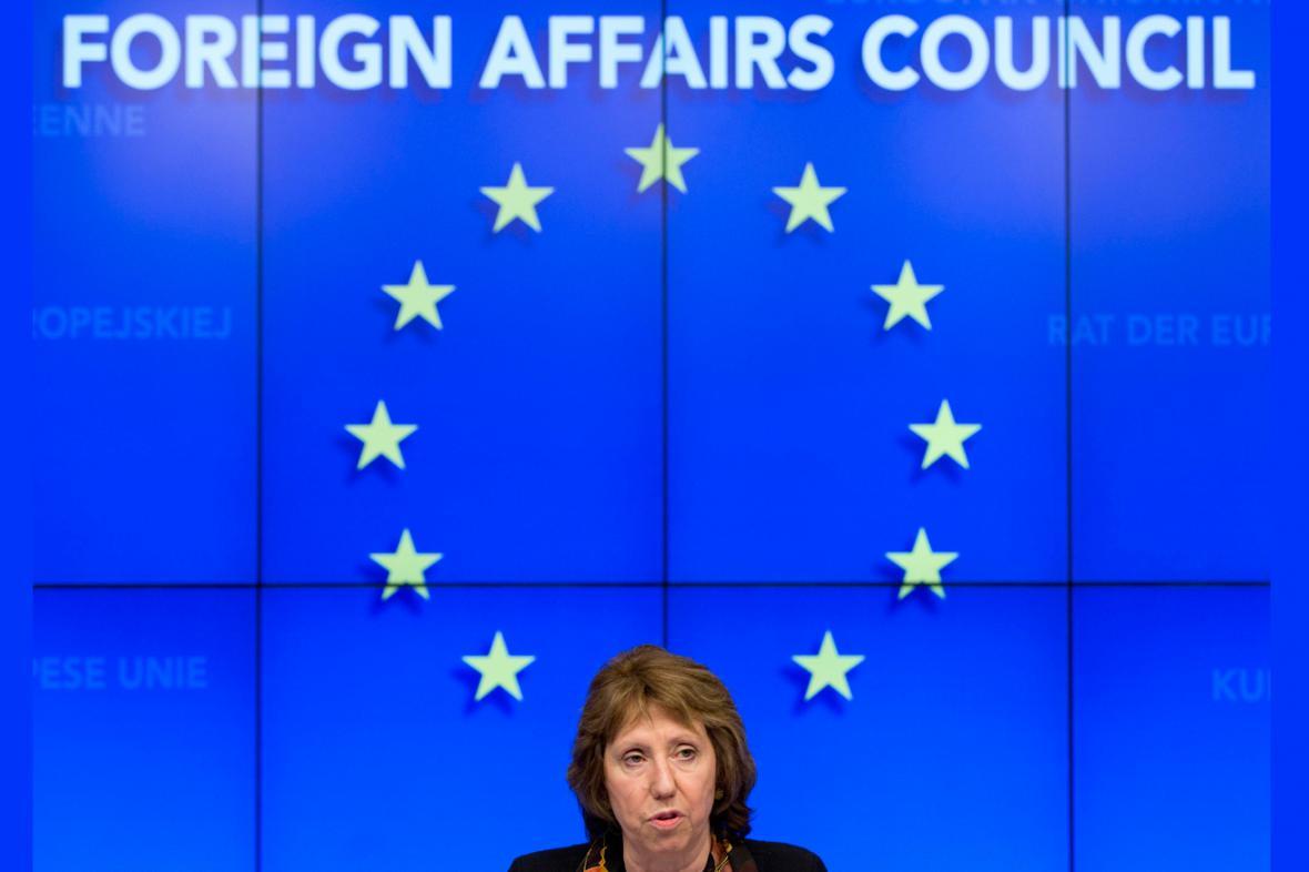Catherine Ashtonová po schůzce ministrů zahraničí EU