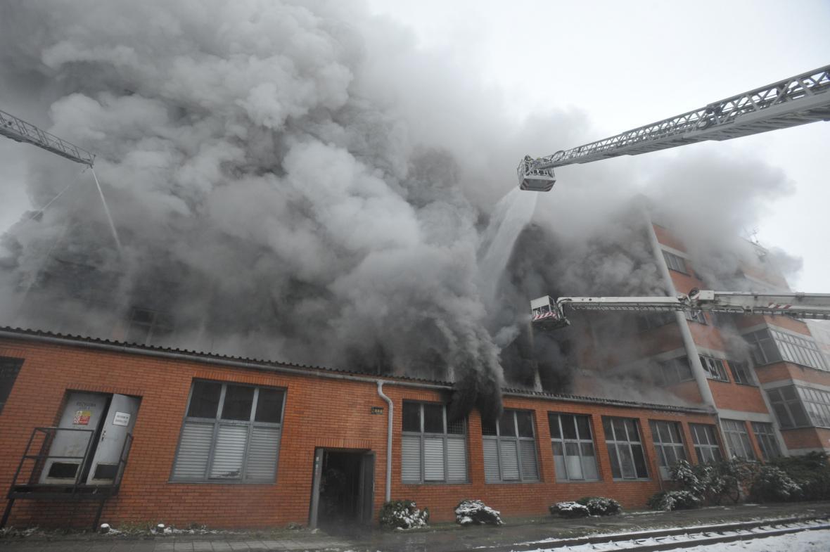 Požár v areálu zlínského Svitu