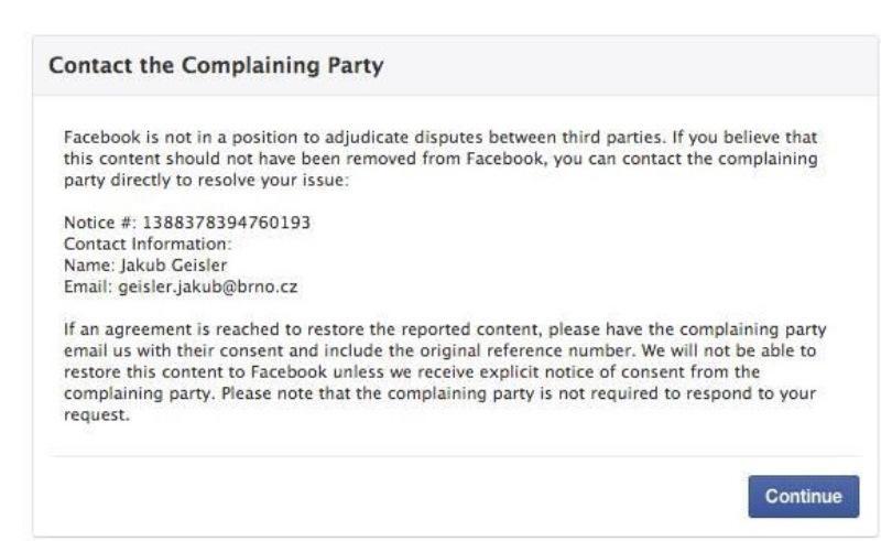 Komentář Facebooku k možnosti obnovení účtu