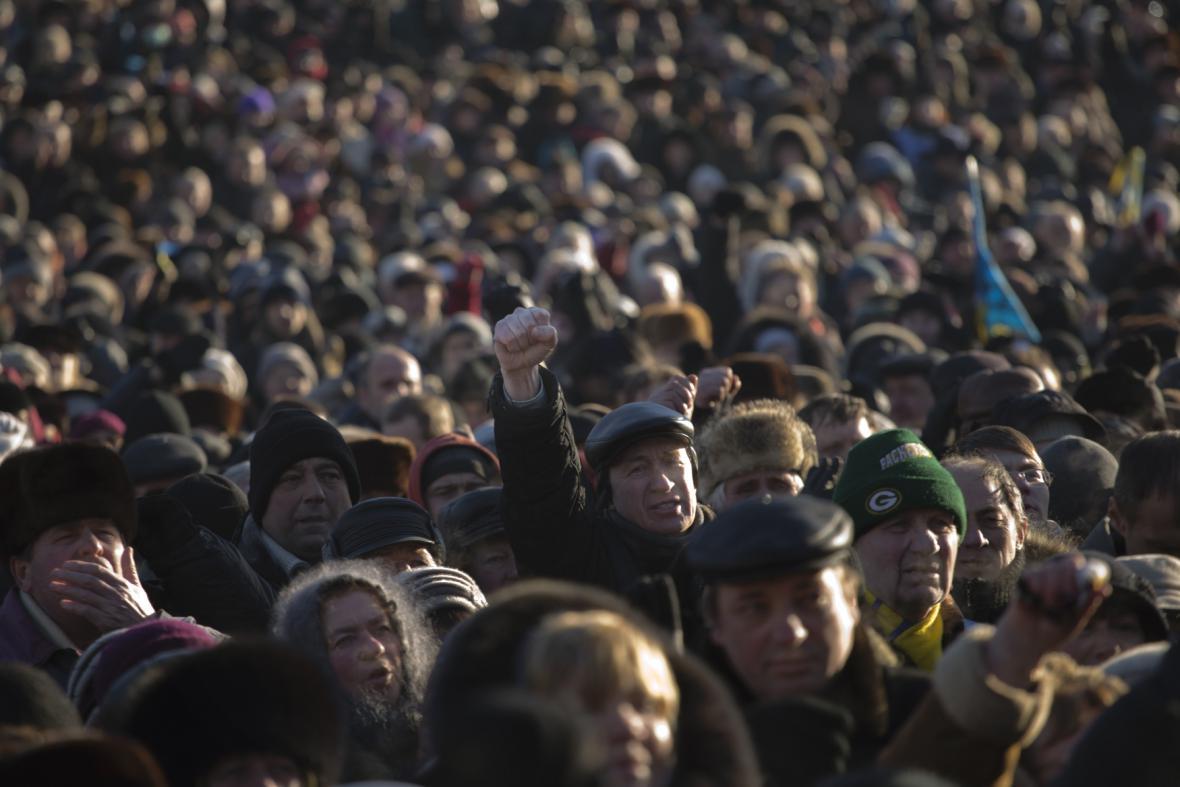 Opoziční demonstrace v Kyjevě