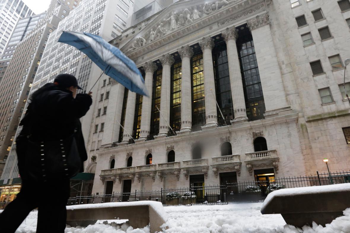 Sníh před newyorskou burzou