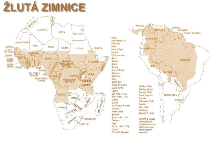 Mapa výskytu žluté zimnice