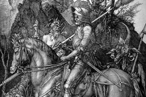 Albrecht Dürer / Rytíř, smrt a ďábel (výřez)