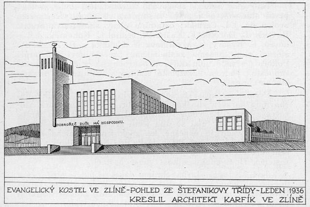 Evangelický kostel ve Zlíně (návrh architekta Karfíka)