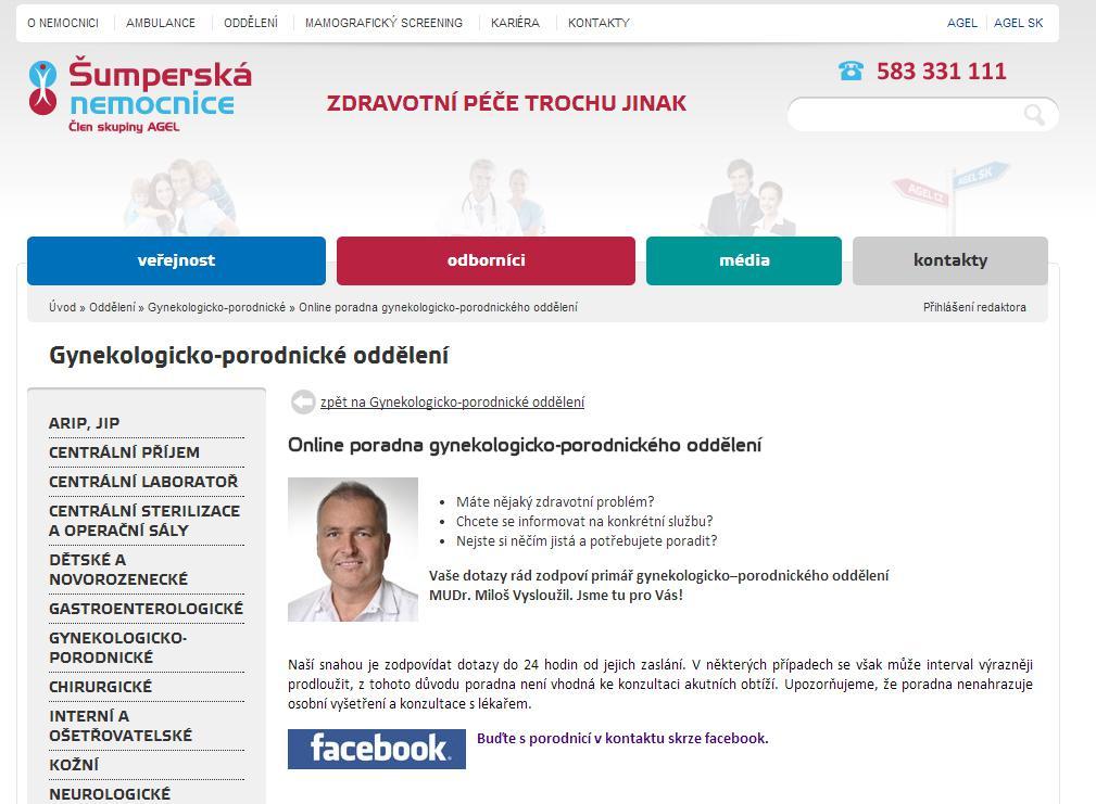 ON-LINE poradna Porodnice Šumperské nemocnice