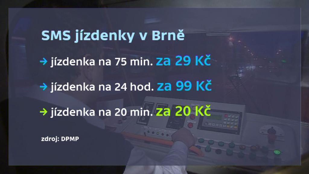 Ceník SMS jízdenek v Brně