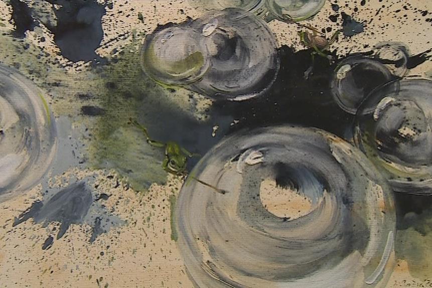 Spěváček používá i malířskou techniku drippingu