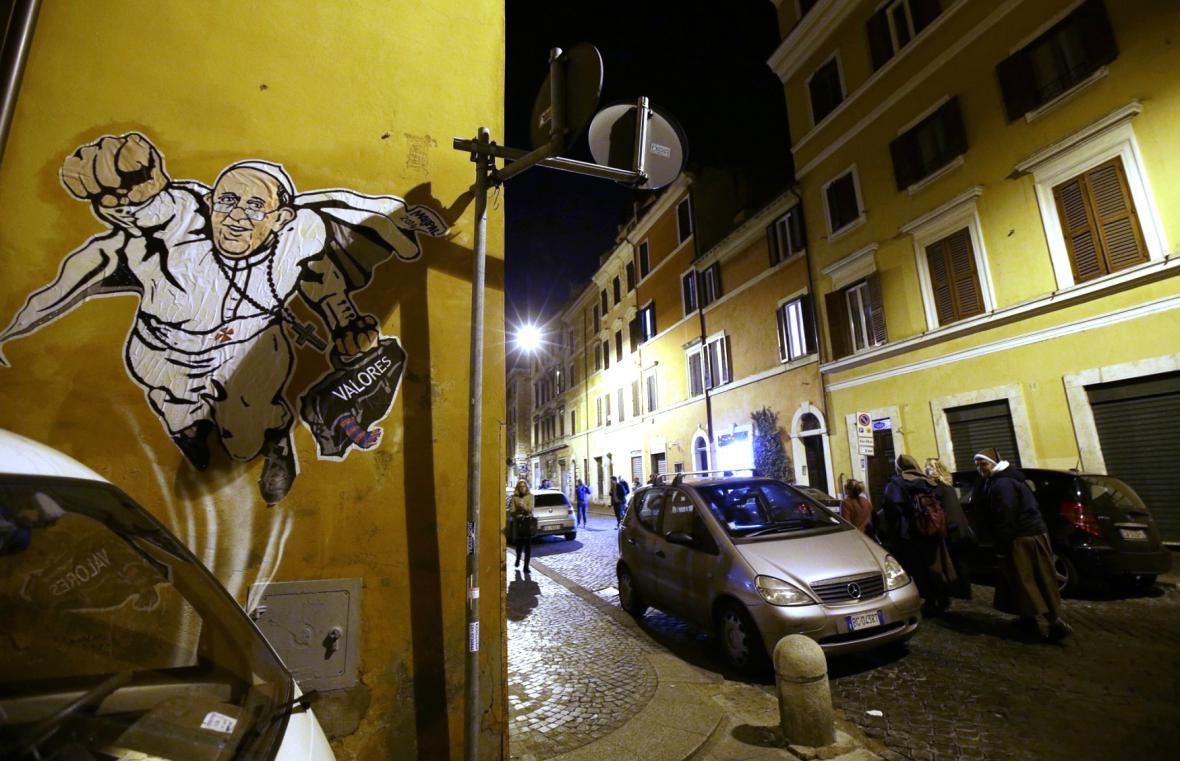 Graffiti znározňující papeže jako Supermana