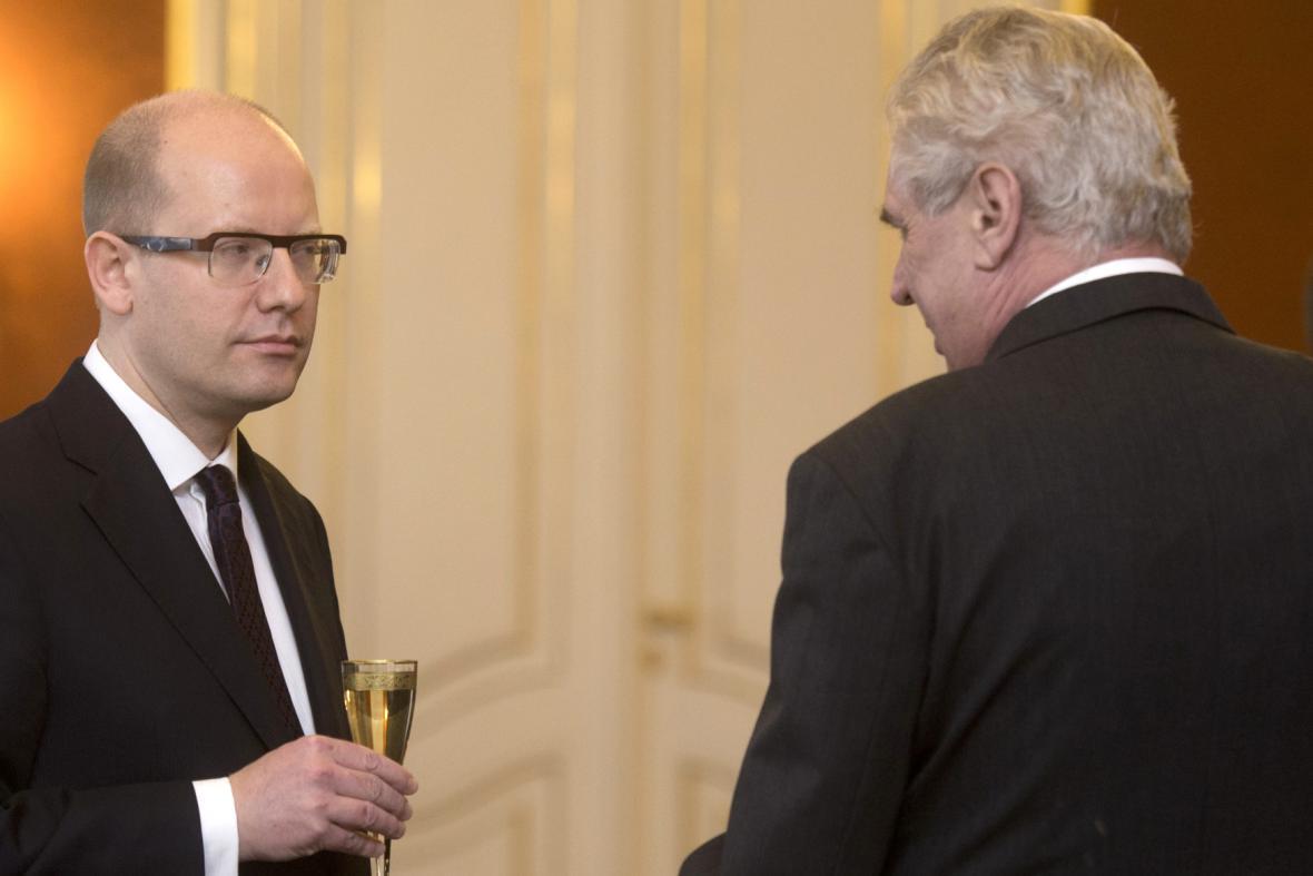 Miloš Zeman a Bohuslav Sobotka na Pražském hradě