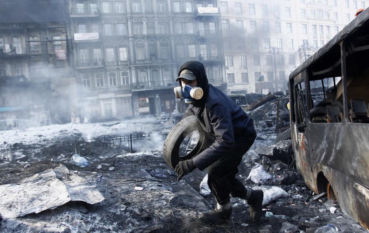 Barikády v centru Kyjeva