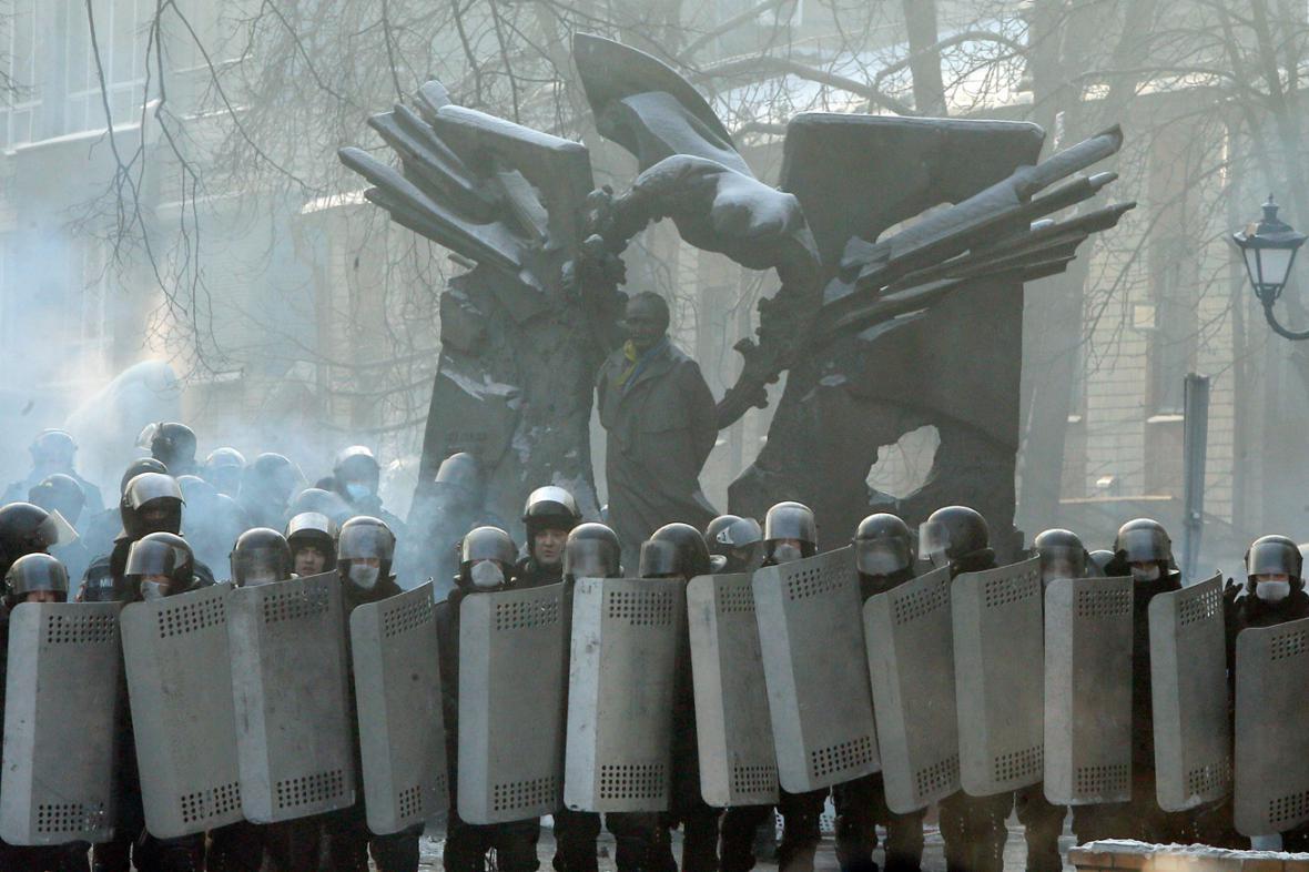 Policejní kordon v Kyjevě
