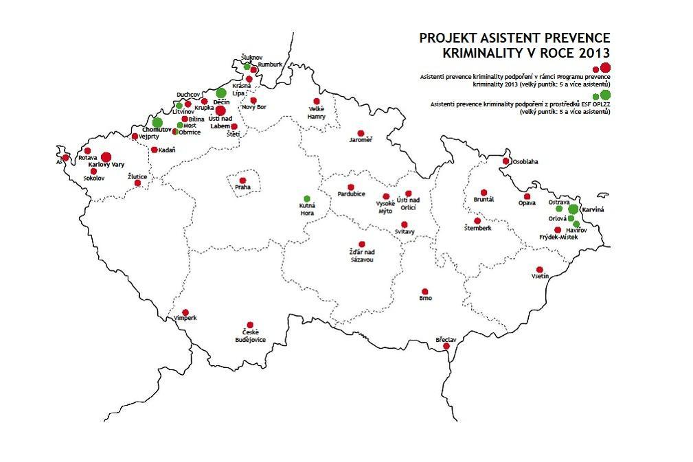 Mapa asistentů prevence kriminality