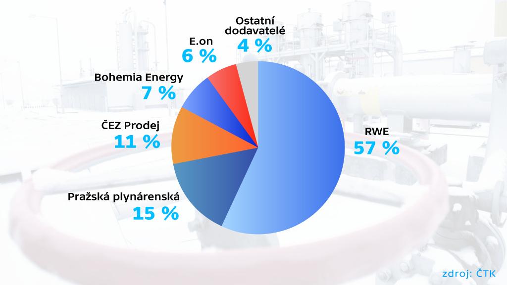 Podíl firem na trhu dodávek plynu