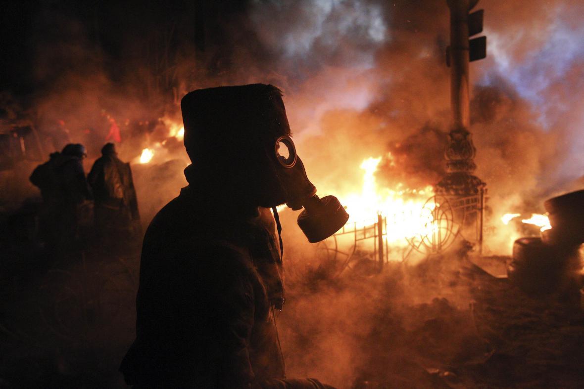Centrum Kyjeva při protivládních protestech