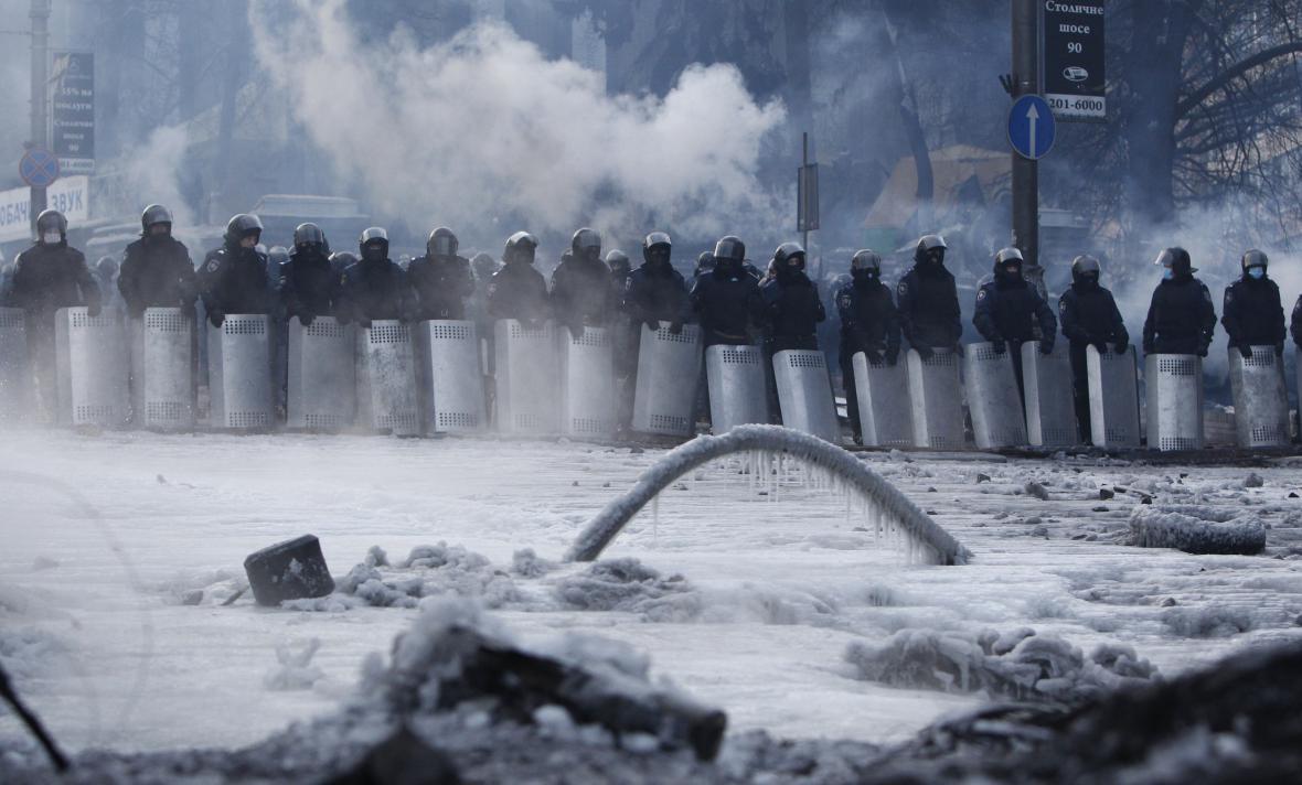 Ukrajinská policie v centru Kyjeva