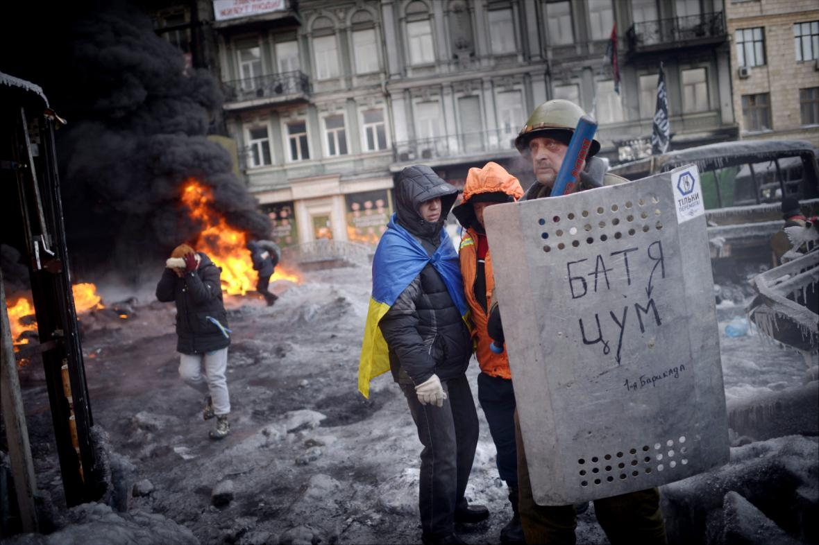 Demonstranti v Kyjevě