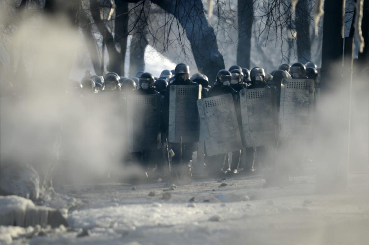 Policie v centru Kyjeva