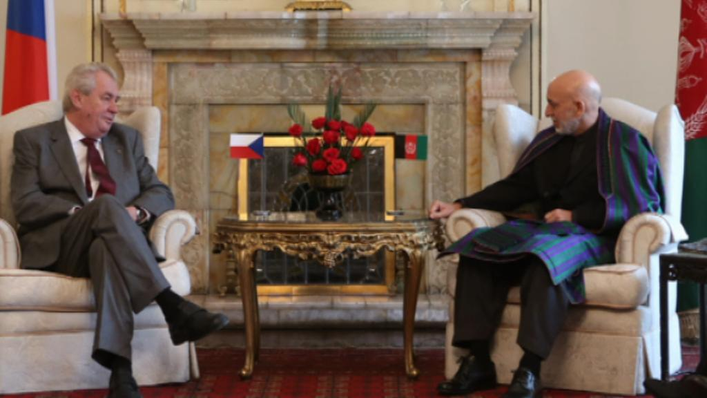 Miloš Zeman s afghánským prezidentem Hámidem Karzajem