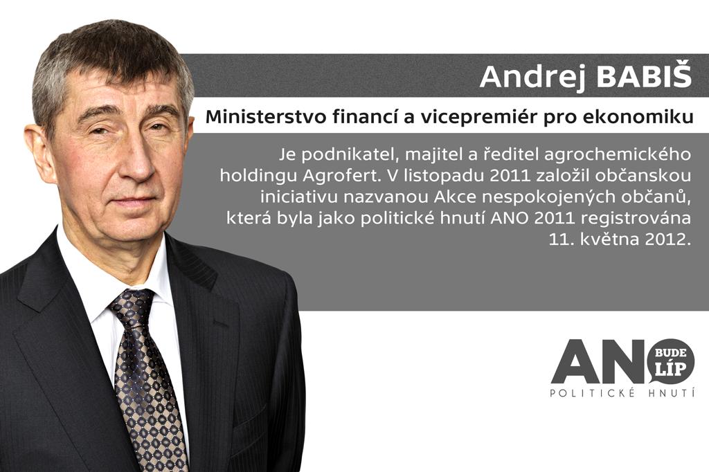 Andrej Babiš – ministerstvo financí a vicepremiér pro ekonomiku