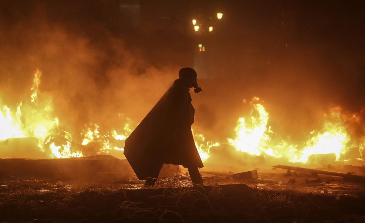 Noční protesty v Kyjevě