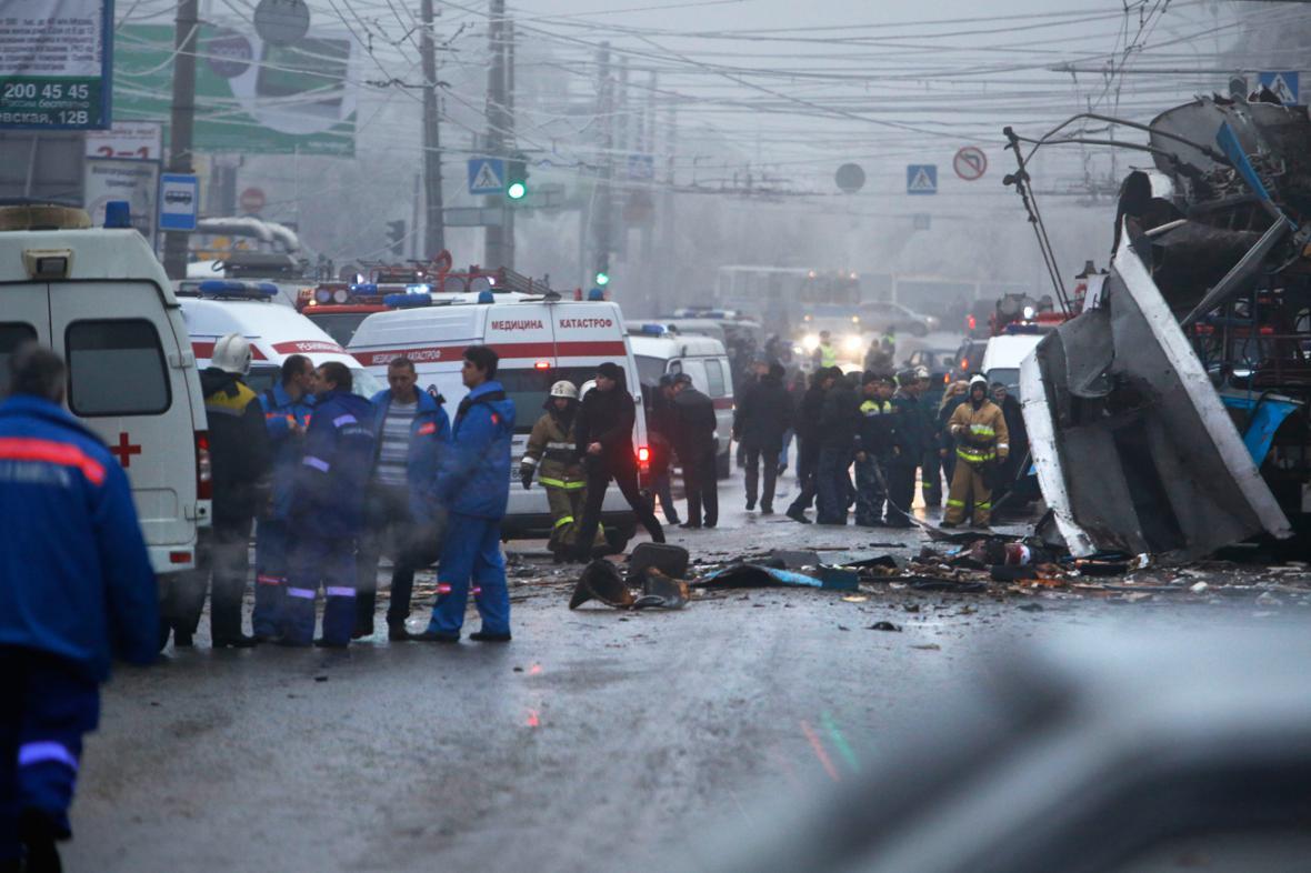 Volgogradský trolejbus po výbuchu