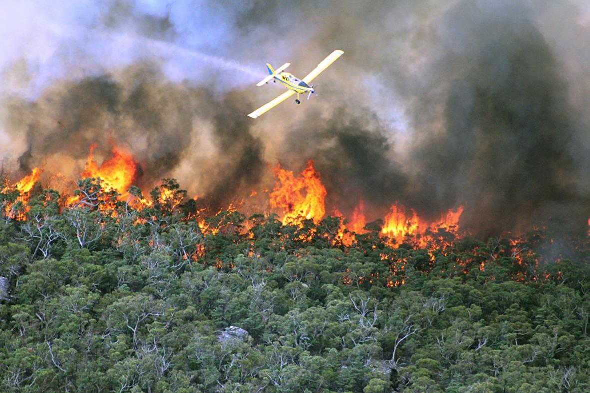 Požáry na jihu Austrálie v oblasti Grampians