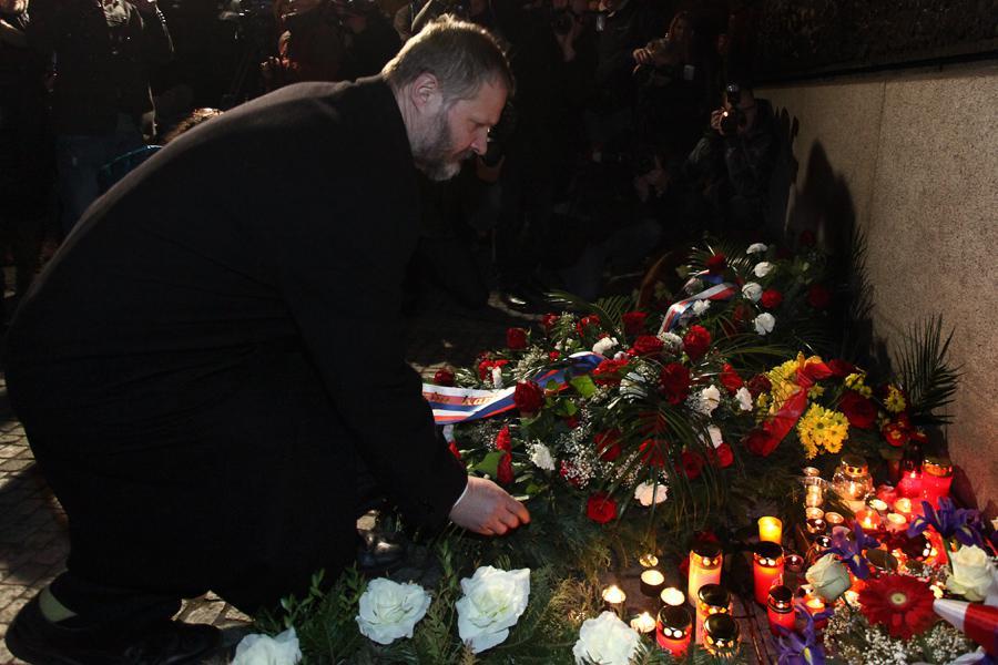 Václav Hampl při vzpomínce na Jana Palacha